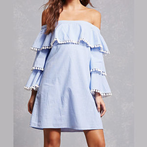 New With Tag Striped Tiered Ruffle Dress